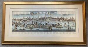 Freidrich Bernhard Werner Rare Panoramic Venice Hand Coloured Engraving Map 1750
