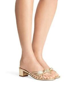 Stuart Weitzman Sidney Size 8.5 Gold Crinkle Leather Slides Block Heel Sandals