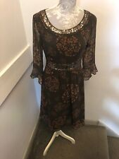 Dickens and Jones Brown Sequinned Dress Size 8