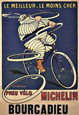 Art ad PNEU velo neumáticos Michelin Man 1912 Neumáticos Deco cartel impresión
