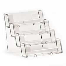 4 Pocket Clear Acrylic Deflect O Style Counter Top Business Card Holder