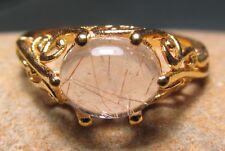Gold plated brass everyday rutilated quartz stone ring UK O½-¾/US 7.75