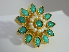Stunning Huge Unusual Turquoise & Seed Pearl Sterling Silver Ring - ByNina