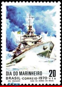 1182 BRAZIL 1970 BATTLESHIP, NAVY DAY, SHIPS AND BOATS, MI# 1276 RHM C-692, MNH