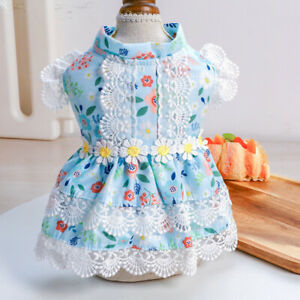 Pet Dog Cat Clothes Classic Summer Floral Dress Maltese Teddy Yorkshire Costume