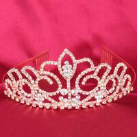 Bridal Princess Tiara Crystal Rhinestones Tiara Crown with Comb Wedding Headband