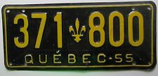 Quebec 1955 License Plate NICE QUALITY # 371-800