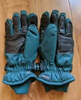 Cabelas Goretex Green Canvas Leather Gloves Insulated Water Resistant Mens Sz S