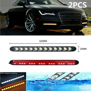 Car Daytime Lamp LED Flowing Light Strip DRL Turn Signal White&Amber Fit for BMW
