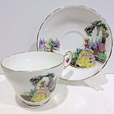 Vintage English Teacup & Saucer Bone China by C&E, VICTORIA