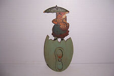 Vintage Wooden Spoon Holder With Lady With Umbrella Holding A Goose