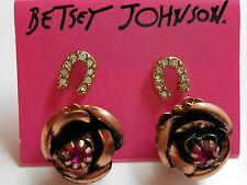 Betsey Johnson Rose Gold Flower & Horseshoe Lady Luck Post Earrings (2 Pair $38
