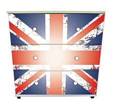 Union Jack- Antique Design White 3 Drawer Chest Bedroom Furniture