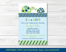 Mod Green Turtle Mom and Baby Printable Baby Shower Invitation Editable PDF