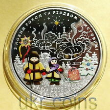2012 Cook Islands $5 Ukraine Christmas New Year 1 Oz Silver Colored Proof Coin