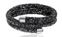 Crystal Double Wrap Bracelet Made with Swarovski Elements Black with Silver