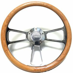 1957-63 Chevy Bel Air, Impala, Oak Steering Wheel, Adapter+ Chevy Horn, Polished