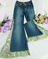 ARDEN B JEANS embellished WIDE paisley FLARES stretch fit  MED WASH S-M