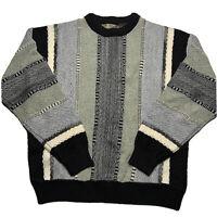 Vintage 90s Le Tigre Size Large Coogi Striped Color Block 3D Knit Sweater Biggie