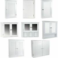 Wall Mounted Cabinet Bathroom White Single Double Door Vanity Storage Cupboard