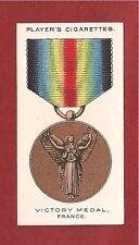 The VICTORY MEDAL FRANCE WAR MEDAL DECORATION 1927  original print card