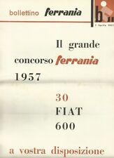 Bollettino Ferrania 1 Aprile 1957 Grande Concorso Fiat 600