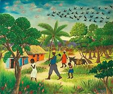 """Walking Home in the Rain"" by JR Chéry -  Naive Haitian Art - c.1965 - 24 x 20in"