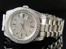 Mens 18K White Gold Steel Simulated Diamond Presidential Watch 41MM PR-02