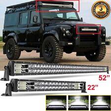 """Combo 52"""" + 22"""" LED Light Bar 160° Flood Spot For LAND ROVER DEFENDER 90 110 130"""