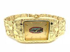 "10k Yellow Gold Nugget Wrist Watch Link Geneve Guadalupe Diamond Watch 7.5"" 45g"