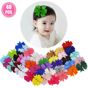 """40Pcs 3"""" Boutique Cute Hair Bows Alligator Clips For Girls Toddlers Babys Gifts"""