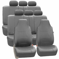 3Row Highback SUV Van Seat Covers Royal Leather for Auto Gray