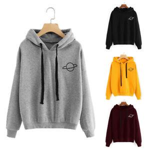 Women Long Sleeve Hooded Sweat Hoodies Planet Print Sweatshirt Pullover Top C2UK