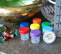 14 Jars screw caps 1/2 oz Container Nail Art Rainbow Beads Herb 1Tbl DecoJars US