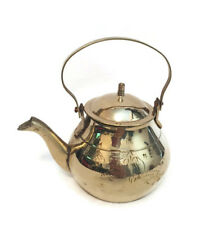 Brass Teapot Metal Carved Tea Pot With Lid Doll House Miniature Kitchen