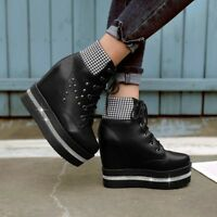 Fashion NEW Women's Ankle Boots Platfrom Creepers Lace Up High Heels Plaid Shoes