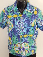 Vtg 50-60's JcPenney Men BARKCLOTH Blue Green FLORAL Hawaiian MoD Camp Shirt L