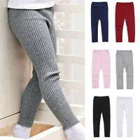 Kid's Girl's Toddler Solid Color Casual Knitting Elastic Leggings Pants Trousers