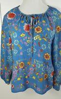 Dalia Boho Blouse Top Women S & XL Blue Floral Print Tied Neck Long Sleeve New
