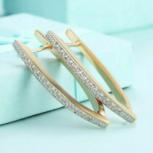 Spectacular Engagement Huggie Hoop Earring's 2 Ct Diamond 14K Yellow Gold Plated