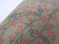 Grayish Yellow Beige Silk Japanese CHIRIMEN HAORI w/SAKURA J712