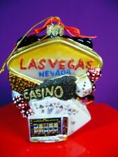 Las Vegas City Scapes Glass Xmas Ornament Kurt Adler New In Original Package