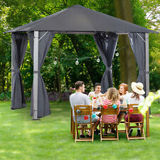 2.6m Outdoor Gazebo Steel Wood Grain Frame Mesh Curtain Sidewalls Sun Shelter