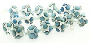 OliveStuart Handmade Lampwork Beads 17 steel blue silvered glass round