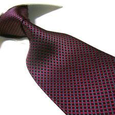 "Extra Long Silk Tie Burgundy Plaid Gents XL Necktie 63"" Woven Jacquard SW4100"