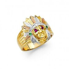 Large 14K Tricolor gold Indian Chief Ring EJMR34316
