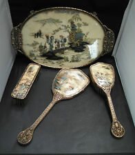 Vintage 50'S  Oriental dressing table set 4 pieces