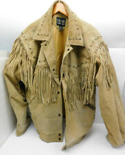 Vtg Western Stefano Man Light Brown Suede Leather Fringed Jacket Size XL Unisex