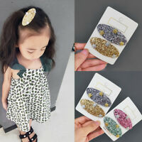 2x Stylish Girls Oval Star Sequins Hairpin Hair Clip Headwear BB Barrette Amid