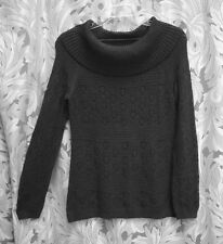 BLACK COWL TURTLE DRAPE NECK KNIT CROCHET TOP SHIRT TUNIC SWEATER~SMALL~S~M~NEW